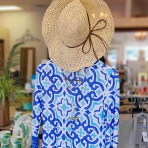blouse and sunhat at Josephine's Palm Leaf Boutique