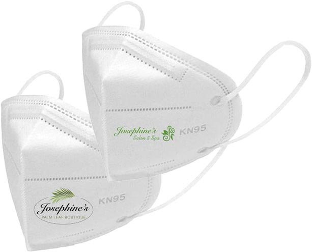 Two KN95 masks with Josephines logo on them