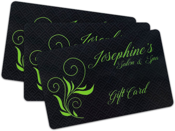 black gift card with writing: Josephine's Salon & Spa Gift Card