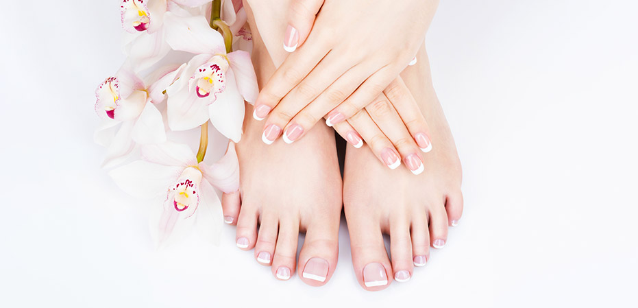 woman with manicure and pedicure at a nail salon in Englewood FL